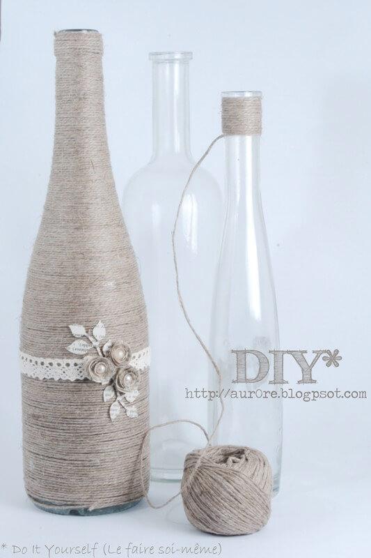 manualidades para reciclar botellas de vino 8