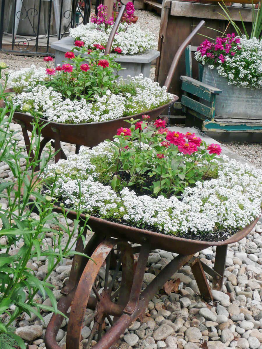 contenedores jardin reutilizados