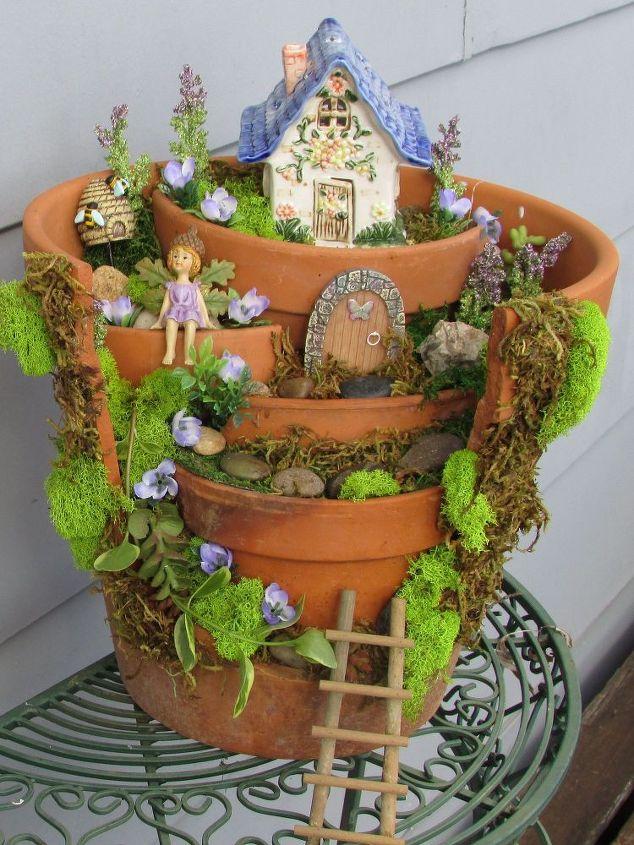 Macetas Rotas Convertidas en Increíbles Jardines de Hadas